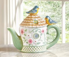 Floral Birdhouse Ceramic Kitchen Teapot