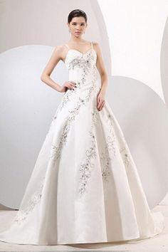 Spaghetti Strap Classic White Wedding Dress - Order Link: http://www.theweddingdresses.com/spaghetti-strap-classic-white-wedding-dress-twdn0657.html - Embellishments: Embroidery , Beading; Length: Chapel Train; Fabric: Satin; Waist: Natural - Price: 163.87USD