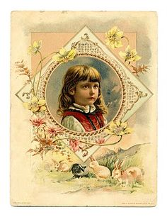 Click on images to enlarge I don't know if any of you are starting Easter projects yet, but I just picked up this sweet card and I wanted to share it with you. This is a wonderful antique advertising card featuring a pretty little girl in an ornate frame, with 4 darling bunnies underneath! I …