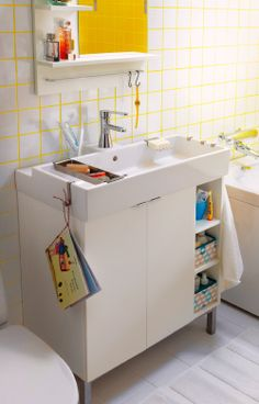 An IKEA LILLANGEN sink cabinet designed for your space and to hold all your bathroom needs. Maybe for a trailer remodeling project in the bathroom Ikea Bathroom, Bathroom Spa, Basement Bathroom, Bathroom Furniture, Bathroom Storage, Small Bathroom, Home Furniture, Small Sink, Bad Inspiration
