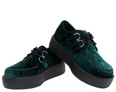 Emerald Green Embossed Velvet Creepers