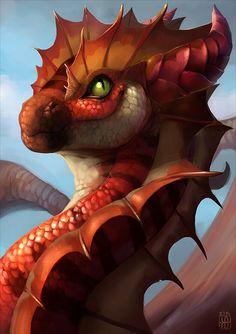 DeviantArt: More Artists Like Fruit Dragon by StaplesART Magical Creatures, Fantasy Creatures, Cool Dragons, Fire Dragon, Dragon Head, Water Dragon, Gold Dragon, Green Dragon, Black Dragon