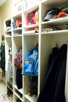 A fun IKEA Hack! How to build mudroom lockers. IKEA Mudroom hack is an easy way to build IKEA cubbies with simple bookcases. Ikea Billy Hack, Ikea Billy Bookcase Hack, Built In Bookcase, Billy Bookcases, Retro Furniture, Ikea Furniture, Furniture Removal, Mudroom Cubbies, Diy Locker