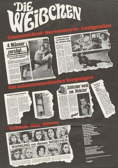 Deutsches Plakatmotiv für DIE WEIBCHEN - aka Femmine carnivore, Mujeres carnivoras  (1970 - Regie: Zbynek Brynych). Demnächst auf DVD & Blu-ray. Mehr zum Film auf unserer Webseite.