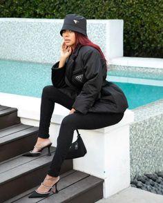 Prada Nylon Gabardine Puffer Jacket Seen on Lala! -Ask and Tell1966 Magazine Rain Jacket, Bomber Jacket, Black Celebrities, Hey Girl, Puffer Jackets, Business Women, High Fashion, Prada, Celebrity Style