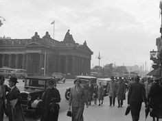Pedestrians, Princes Street, 1934 — in Edinburgh, United Kingdom.