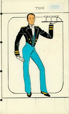 Waiter Costume designed by Pete Menefee for Titanic scene in Jubilee! Costume Design Sketch, Vegas Showgirl, Burlesque Show, Old Shows, Cool Costumes, Amazing Costumes, Men's Wardrobe, Showgirls, Fashion Sketches