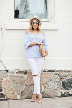 Weiße Hose kombinieren: Hellblau passt perfekt zu Weiß