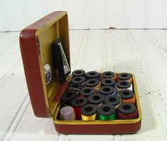 Vintage Handy Sewing Kit Case  Retro Brown & Brass by DivineOrders, $6.00