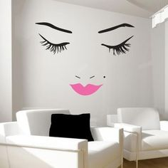 Beautiful Face Wall Decal | Wall Decal World | Perfect for a teenage girl's room or a make-up area! Free shipping this week only! (5/18/15 week) Teenage Girl Bedroom Decor, Girl Bedroom Designs, Teen Girl Rooms, Girls Bedroom, Lips, Beautiful, Face, Lip Colors, Wall Decals