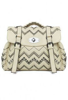#Chicwish  Aztec Studded Satchel Bag in Ivory