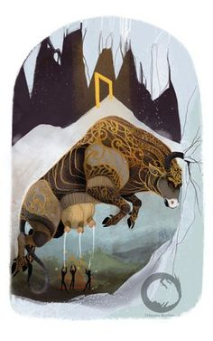 Uruz rune card illustration