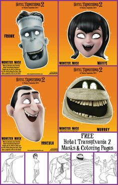 Celebrate the release of Hotel Transylvania 2 with these free printable Hotel Transylvania 2 Masks and Coloring Pages.