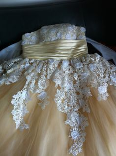 Vintage Lace Flower Wedding Dress Champagne Tulle Wedding Dress Bridal Gown Strapless Knee Tea Short Wedding Dress Prom Dress. $170.00, via Etsy.