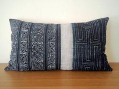"""14""""x 24"""" Vintage Hmong Hand Woven Hemp Batik Pillow Cover, Indigo Boho Throw Pillow, Hill Tribe Ethnic Costume Textile Pillow Case"""