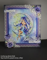 I had to share this fun image from PolkaDoodles! Her name is Serenity Stardust and she's so beautiful! I love the way she's just sitting on the moon amongst the stars. I used Copics to color her, and watercolors &...