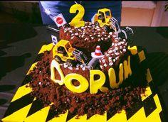 Birthday, construction cake, boy, second birthday