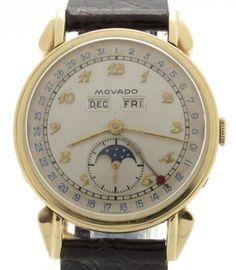 Movado-Vintage-Triple-Date-Moonphase-14K-Yellow-Gold-35mm-Watch-Fancy-Lugs-Case
