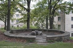 Council Ring: Jens Jensen saw these stone circles as emblematic of both the Viking past of his Danish ancestors and of Native American egalitarianism. The Council Ring in the woods around the fire was the original grouping of mankind. When so arranged, we get at the democratic equalization of responsibility and of honor. Because a group would be gathered in a continuous circle, there would be no head, no hierarchy, but a simple affirmation that all members of the community are important.