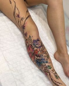 I like the placement of the flowers and how it wraps ar… Aleksey Platunov tattoo. I like the placement of the flowers and how it wraps around the leg in this one. Pretty Tattoos, Sexy Tattoos, Cute Tattoos, Beautiful Tattoos, Body Art Tattoos, Sleeve Tattoos, Tatoos, Incredible Tattoos, Tattoo Calf