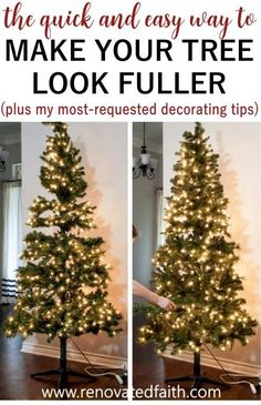 Even if you have a Walmart Christmas tree like I do, your Christmas tree can look fuller with one simple trick! I also include my best Ideas on how to decorate and add ribbon to a Christmas tree on a budget. Decorate your tree like a pro in just a few easy steps without the stress. Works with mesh, garland, tulle and ribbon, even burlap for a beautiful tree through the holidays! Black Christmas, Cheap Christmas Trees, Christmas Tree Decorating Tips, Elegant Christmas Decor, Silver Christmas Decorations, How To Make Christmas Tree, Ribbon On Christmas Tree, Christmas Tree Design, Christmas Tree Themes