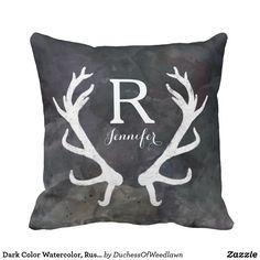 Dark Color Watercolor, Rustic Deer Antler Monogram