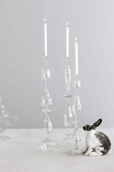 Stem-To-Stem Candlestick - anthropologie.com DIY  to try - purchase wine glasses from thrift stores, glue and a candlestick with some adhesive?