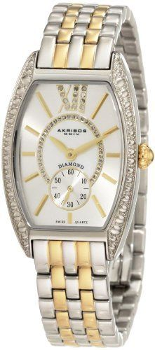 Akribos XXIV Women's AKR470TT Diamond Swiss Quartz Tourneau Bracelet Strap Watch Akribos XXIV. $129.99. Precise Swiss-Quartz movement. Water-resistant to 99 feet (30 M). Mother-Of-Pearl center dial surrounded by genuine diamonds. Watch features large roman numeral 12 with inlaid diamonds. Shatter-resistant krysterna crystal. Save 80% Off!