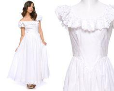80s Wedding Dress White Eyelet Floral Cut by GravelGhostVintage, $128.00