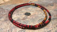 African Vinyl Vulcanite Disc Beads 38 96.5cm of 6 by RedEarthBeads, $15.00