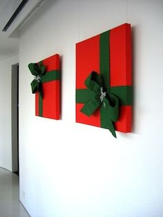 Wrapped Pizza Boxes -- Fast Xmas decore! Wrap the picture frames in the Pool Room?