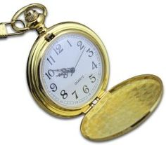 """Classic Pocket Watch – Gold, Hunter Case, 14"""" Chain, Comes in Silk-Lined Gift Box"""