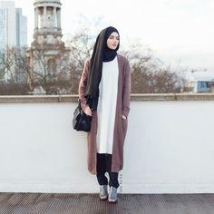 "islamic-fashion-inayah: ""- New Arrival Long Mushroom Cardigan - http://bit.ly/17iGQNQ Black Jersey Hijab - http://bit.ly/1tGqWnu Black Crossover Trousers -..."