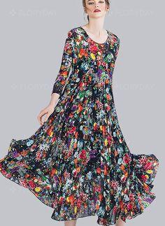 Dresses - $104.59 - Silk Floral 3/4 Sleeves Maxi Vintage Dresses (1955093635)