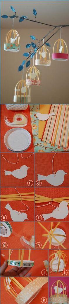"""Deko-Vogelhäuschen aus Käseschachtel und Papier oder - ganz winzig - mit """"Teelichtschalen"""""""
