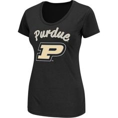Purdue Boilermakers Women's Diva Scoop-Neck T-Shirt - Black