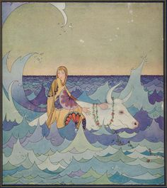 Europa and the Bull, Tanglewood Tales. Rewritten by Nathaniel Hawthorne, art by Virginia Sterrett.