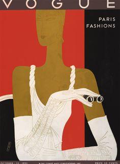 1931 Vogue by Benito.  Vogue Art Deco cover October 15 1931 (orig. gilt vintage linen-backed) | eBay