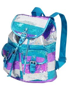 Justice is your one-stop-shop for on-trend styles in tween girls clothing & accessories. Shop our Large Sequin Stripe Rucksack. Justice Backpacks, Justice Bags, Justice Store, Girls Rucksack, Rucksack Backpack, Mini Backpack, Tote Bags Online, Bags Online Shopping, Cute Backpacks