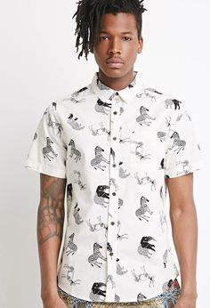 Forever 21 Safari Print Short-Sleeve Shirt