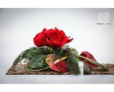 Composizione floreale con fiori artificiali in tessuto:Composizione Amarillis e Anthurium