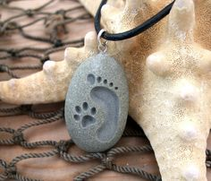 Footprint and Cat Paw Forever Friends - engraved Beach Stone Pendant