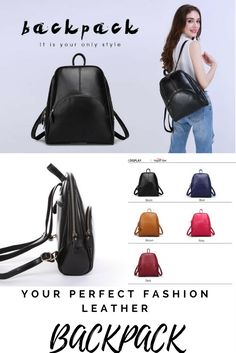 Leather fashion backpack (www.justsomestuff.biz perfect size for the women on the go.  Helps you stay organized  with a fashion forward design. Leather exterior, polyester interior lining. Zipper closures, detachable handles, has a zipper outside pocket, comes in 5 colors.