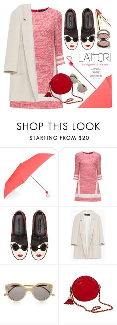 """""""Caught In The Rain"""" by monmondefou ❤ liked on Polyvore featuring Accessorize, Lattori, Alice + Olivia, Zara, Illesteva, Chanel, Chantecaille, red and rose"""