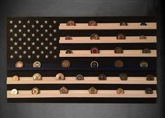 Amazing Military Challenge Coin Holder Solid Walnut Holds 30-36 Coins 5 Rows Made in The USA! Military Coin Display Stand 5 Row Challenge Coin Holder