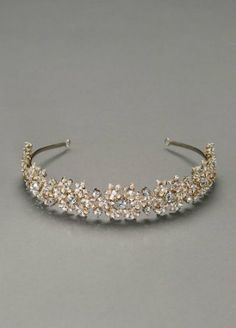 David's Bridal Metal Floral Cluster Headband with Rhinestones Style H11A256, Gold, Bridal Wedding Fascinator David's Bridal. $199.00