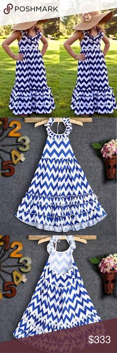 COMING SOON! (5-8) Chevron Maxi Dress Love this. My daughter loves maxi dresses for the summer.  Blue and white chevron pattern with ruffles.  Tie neck.  Perfect for a dress or cover up.  Available in 5/6 or 7/8.  Cotton. Dresses