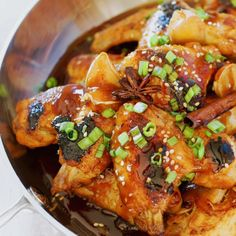 Soy, brown sugar, star anise, cinnamon stick, and sake make a sticky, sweet, spicy sauce to elevate the humble chicken wing.