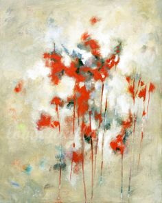 """Original Abstract Art Neutral and Red Abstract Acrylic Painting """"With Love"""""""