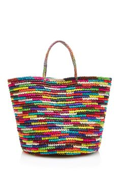 Shop Maxi Straw Tote in Multicolor. Handcrafted in Ecuador from the finest toquilla straw, **Sensi Studio's** lively Maxi tote spans the spectrum of color—from vibrant greens to oceanic blues and every shade in between. Straw Handbags, Tote Handbags, Tote Bags, Brown Handbags, Tote Purse, Women's Bags, Woven Beach Bags, Crotchet Bags, Straw Tote